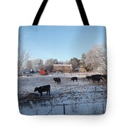 Frosty Barnyard Tote Bag