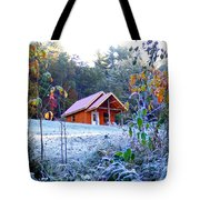 Frosty Cabin Tote Bag