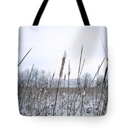 Frosty Cattails Tote Bag