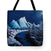 Frosty Night In The Mountains Tote Bag