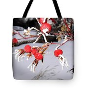 Frosty Rosehips Tote Bag