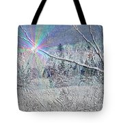 Frosty Window Distant Sun Tote Bag