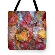 Frozen Autumn Aspen Leaves Tote Bag