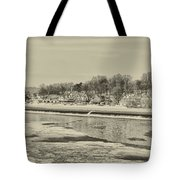 Frozen Boathouse Row In Sepia Tote Bag