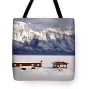 Lake Minnewanka, Alberta - Banff - Frozen Docks Tote Bag