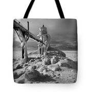 Frozen Grand Haven Lighthouse Black And White Tote Bag