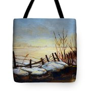 Frozen Lake Near Ste. Adele Tote Bag
