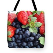 Fruit 2- Strawberries - Blueberries Tote Bag by Barbara Griffin