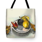 Fruit And Autumn Leaves Tote Bag