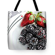 Fruit I - Strawberries - Blackberries Tote Bag by Barbara Griffin