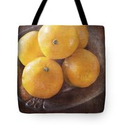 Fruit Still Life Oranges And Antique Silver Tote Bag