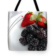 Fruit V - Strawberries - Blackberries Tote Bag by Barbara Griffin