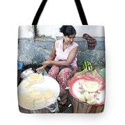 Fruit Vendor On Street Yangon Myanmar Tote Bag