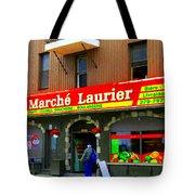 Fruiterie Marche Laurier Butcher Boulangerie De Pain Produits Quebec Market Scenes Carole Spandau  Tote Bag