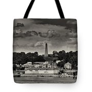 Ft Griswald Monument Black And White Tote Bag