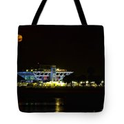 Full Blood Moon Over The St. Petersburg Pier Tote Bag