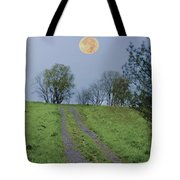 Full Moon And A Country Road Tote Bag