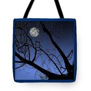 Full Moon And Black Winter Tree Tote Bag