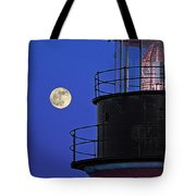 Full Moon And West Quoddy Head Lighthouse Beacon Tote Bag