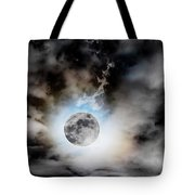 Full Moon  In Stormy Sky Tote Bag