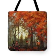 Full Moon On Halloween Lane Tote Bag