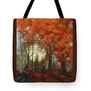 Full Moon On Halloween Lane Tote Bag by Tom Shropshire