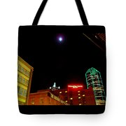 Full Moon Over Dallas Streets Tote Bag