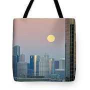 Full Moon Over Downtown Houston Skyline Tote Bag