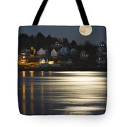 Full Moon Over Kennebec River Georgetown Island Maine Tote Bag