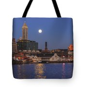 Full Moon Over Pioneer Square Tote Bag