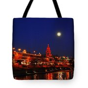 Full Moon Over Plaza Lights In Kansas City Tote Bag