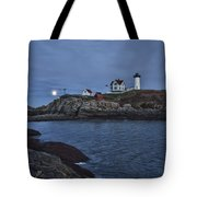 Full Moon Rise Over Nubble Tote Bag