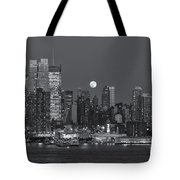 Full Moon Rising Over New York City IIi Tote Bag by Clarence Holmes