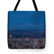 Full Moon Rising Over Portland Cityscape Tote Bag
