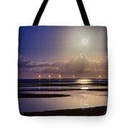 Full Moon Rising Over Sandgate Pier Tote Bag