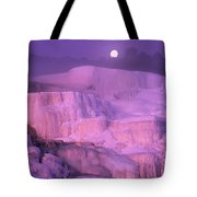 Full Moon Sets Over Minerva Springs On A Winter Morning Yellowstone National Park Tote Bag