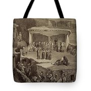 Funeral Ceremony In The Ruins Tote Bag