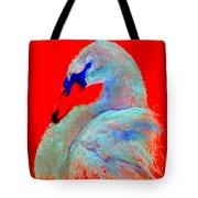 Funky Swan Blue On Red Tote Bag