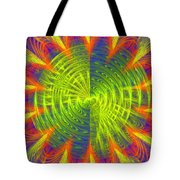 Futuristic Disc Blue Red And Yellow Fractal Flame Tote Bag