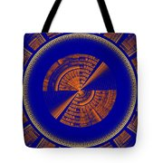 Futuristic Tech Disc Blue And Orange Fractal Flame Tote Bag