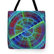 Futuristic Tech Disc Red And Blue Fractal Flame Tote Bag