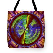 Futuristic Tech Disc Red Green And Yellow Fractal Flame Tote Bag