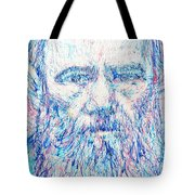 Fyodor Dostoyevsky / Colored Pens Portrait Tote Bag
