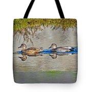 Gadwall Pair Swimming Together Tote Bag