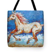 Galloping Horse On Beach Tote Bag