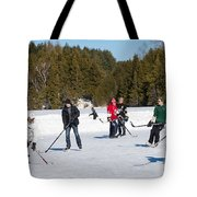 Game Of Ice Hockey On A Frozen Pond  Tote Bag