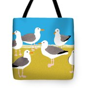 Gang Of Gulls On The Beach Tote Bag