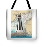 Gannet Rock Lighthouse New Brunswick Canada Nautical Chart Art Tote Bag