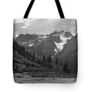 509417-bw-gannett Peak Seen From Dinwoody Creek Tote Bag