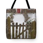 Garden Gate In Snow Tote Bag